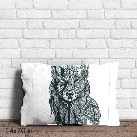 Wolf in Tribal Print Throw Pillow