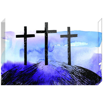 Hand Drawn Hill of Three Crosses Acrylic Block