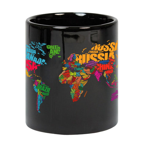 World Map Typography Black Ceramic Mug