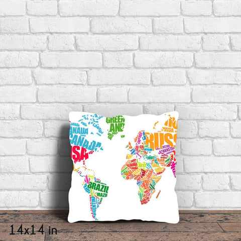 World Map Typography Throw Pillow
