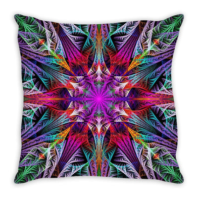 Symmetric Fractal Flower Throw Pillow
