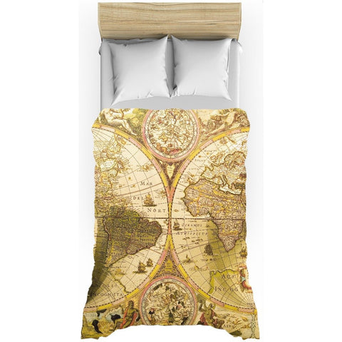 Antique World Map All-Over Print Duvet Cover