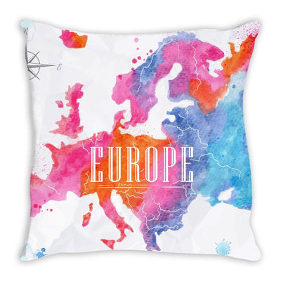 Europe Watercolored Map Throw Pillow