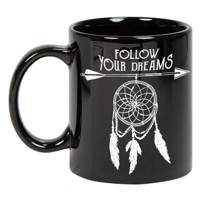 Follow Your Dreams Black Ceramic Mug