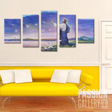 Jesus and the Beauty of Nature in Illustration 5 Piece Canvas Wall Art Decor