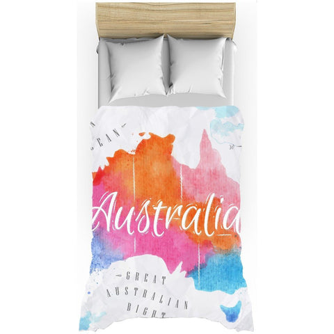 Australia Watercolored Map All-Over Print Duvet Cover