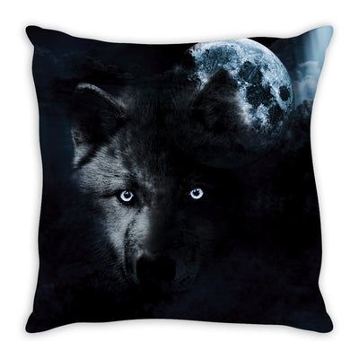 Fierce Wolf and the Full Moon Throw Pillow