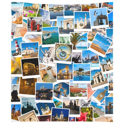 Europe Photo Collage Wall Tapestry