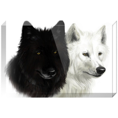 Black and White Wolves Acrylic Block
