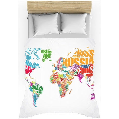 World Map Typography All-Over Print Duvet Cover