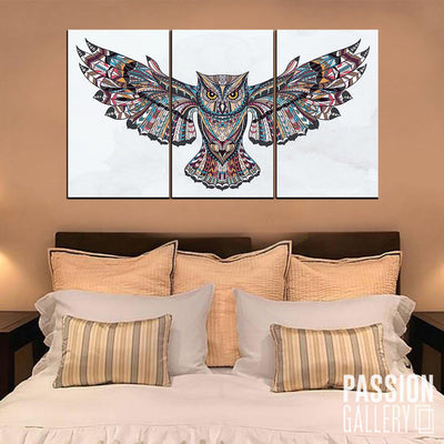 A Fierce Looking Owl 3 Piece Canvas Wall Art Decor