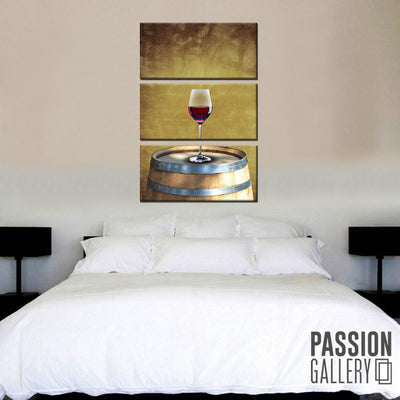A Glass of Red Wine 3 Piece Canvas Wall Art Decor