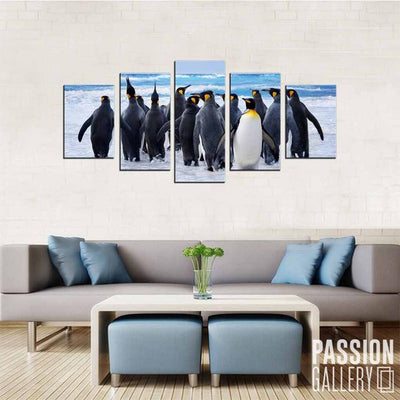 A Waddle Into the Waters 5 Piece Canvas Wall Art Decor