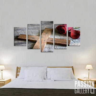 A Wooden Cross 5 Piece Canvas Wall Art Decor