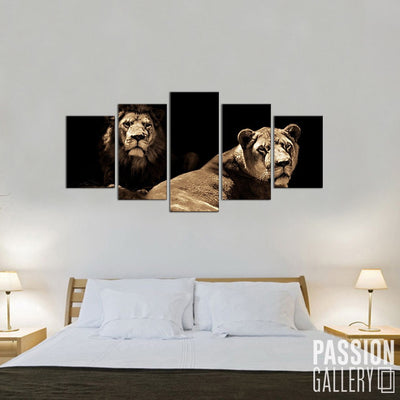 Alpha Male and Female Lion 5 Piece Canvas Wall Art Decor