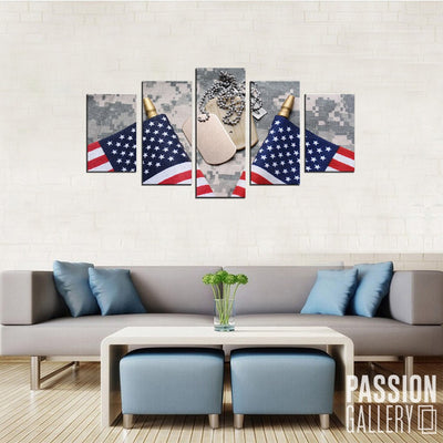 American Army 5 Piece Canvas Wall Art Decor