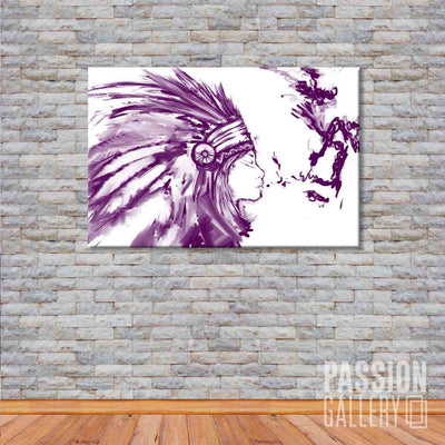 American Indian Chief in Watercolor 1 Piece Canvas Wall Art Decor