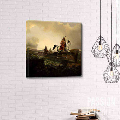 American Indians Roving In Town 1 Piece Canvas Wall Art Decor