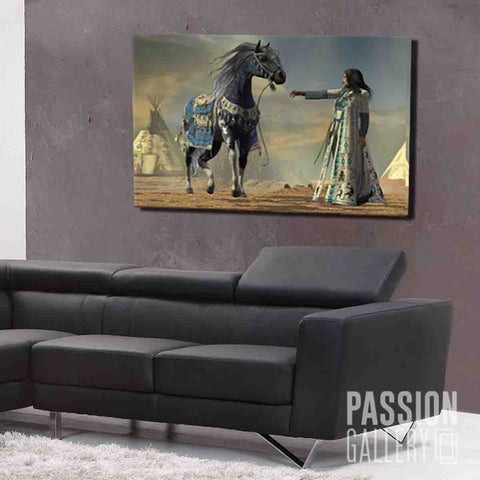 An Elegant Indian Woman and Her Horse 1 Piece Canvas Wall Art Decor