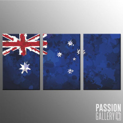 Australia Ink Splattered Flag 3 Piece Canvas Wall Art Decor