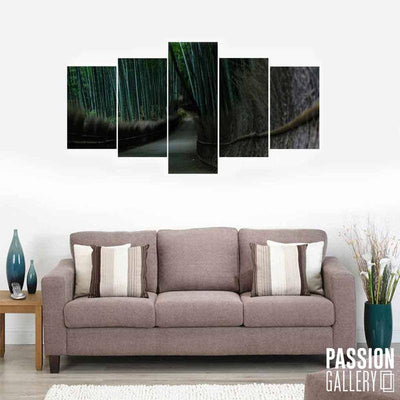 Bamboo Garden Path 5 Piece Canvas Wall Art Decor