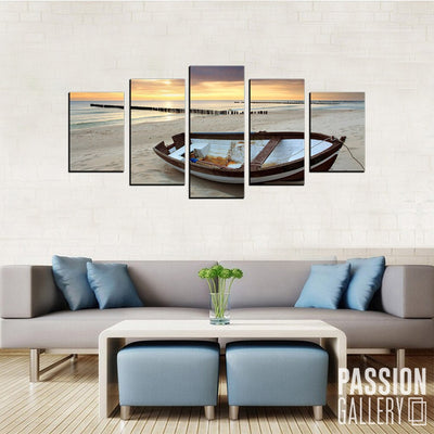 Beautiful Boat at the Beach 5 Piece Canvas Wall Art Decor