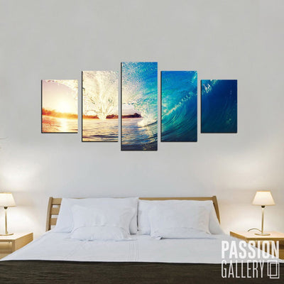Big Ocean Waves 5 Piece Canvas Wall Art Decor