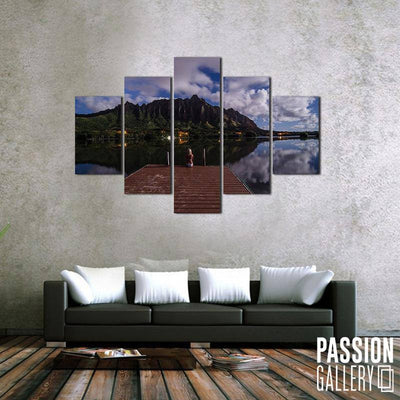 Boardwalk and Reflections 5 Piece Canvas Wall Art Decor