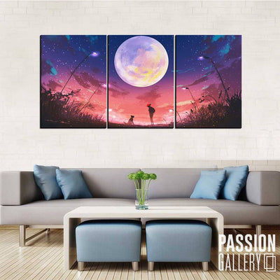 Bright Moon in Evening Sky 3 Piece Canvas Wall Art Decor
