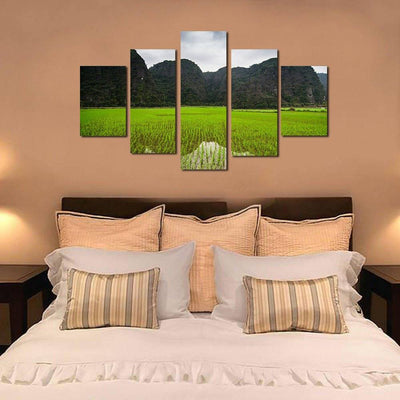 Green Mountain Ricefield 5 Piece Canvas Wall Art Decor