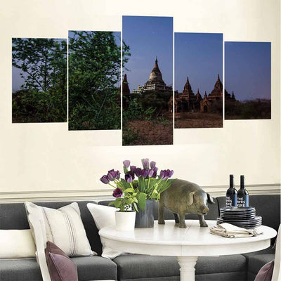 Temple Front Glance 5 Piece Canvas Wall Art Decor