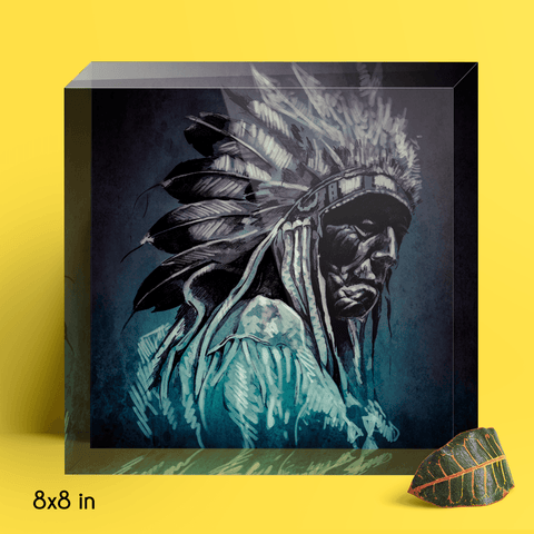 Cherokee Indian Portrait Artwork Acrylic Block