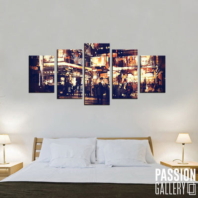 City Streets At Night 5 Piece Canvas Wall Art Decor