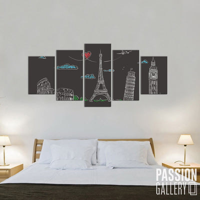 Europe Landmarks Chalkboard 5 Piece Canvas Wall Art Decor