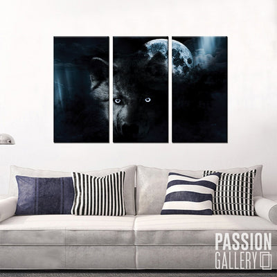 Fierce Wolf and the Full Moon 3 Piece Canvas Wall Art Decor