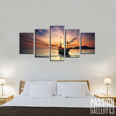 Fishing Boat meets Sunrise 5 Piece Canvas Wall Art Decor