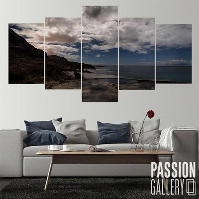 Gloomy Shore Clouds 5 Piece Canvas Wall Art Decor