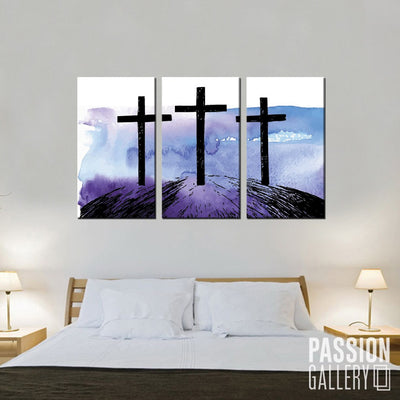 Hand Drawn Hill of Three Crosses 3 Piece Canvas Wall Art Decor
