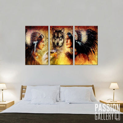 Indian Man and Woman Cherokee 3 Piece Canvas Wall Art Decor