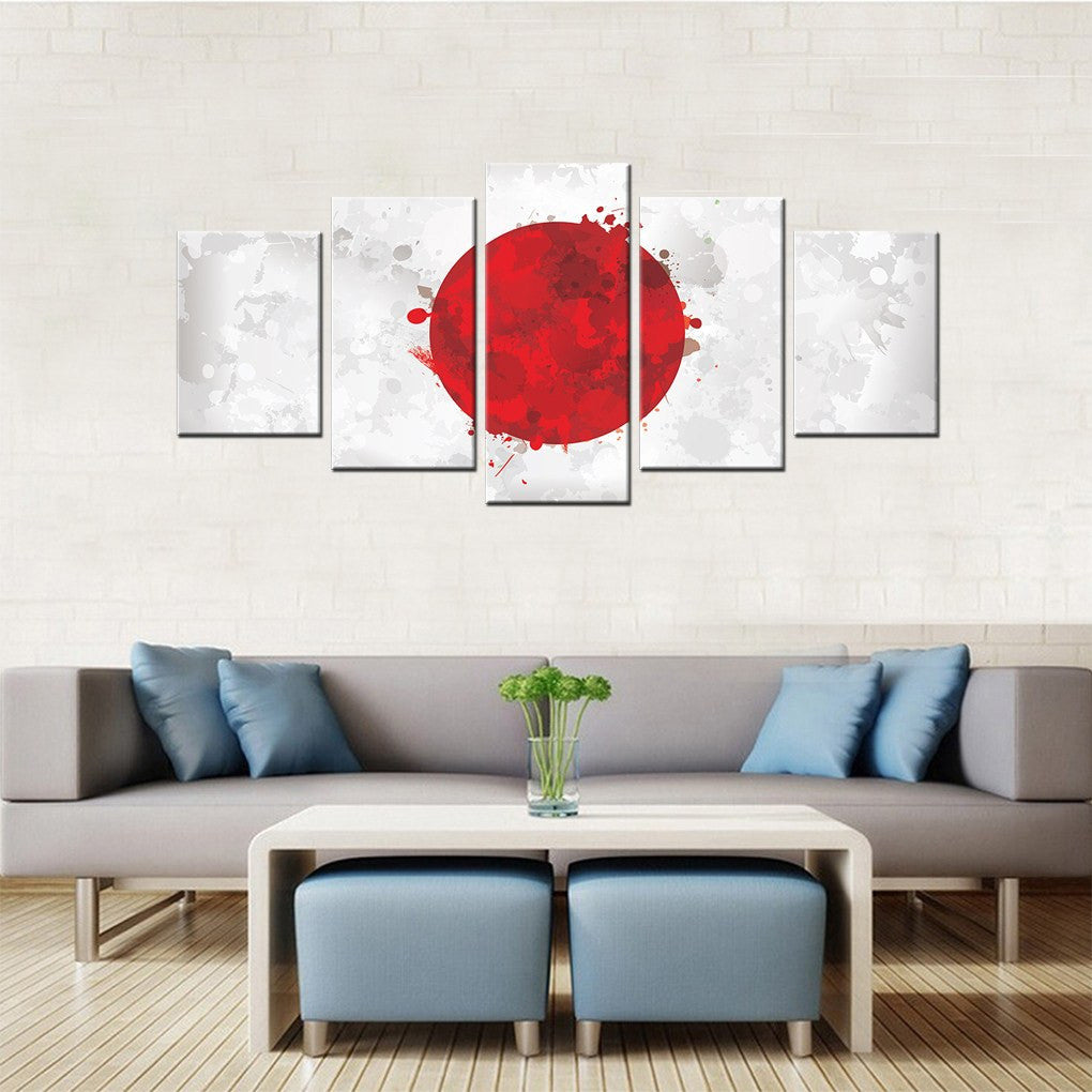 japan ink splattered flag  piece canvas wall art decor  - wwwpassiongallerycom highquality modern canvas wall art decor for