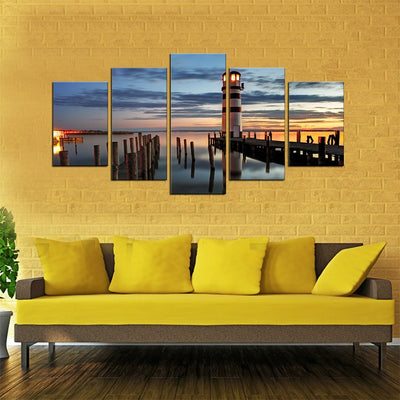Lighthouse at Sundown 5 Piece Canvas Wall Art Decor