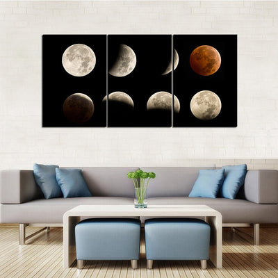 Lunar Eclipse Phases 3 Piece Canvas Wall Art Decor