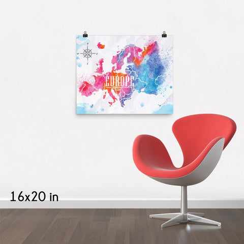 Europe Watercolored Map Premium Luster Wall Art Poster