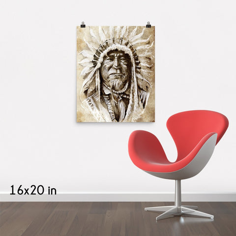 Sketched Native American Indian Portrait Premium Luster Wall Art Poster