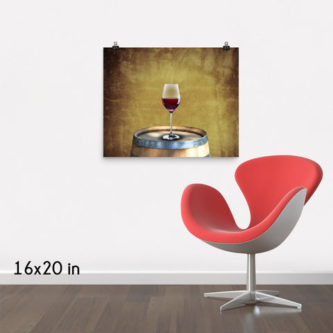 A Glass of Red Wine Premium Luster Wall Art Poster