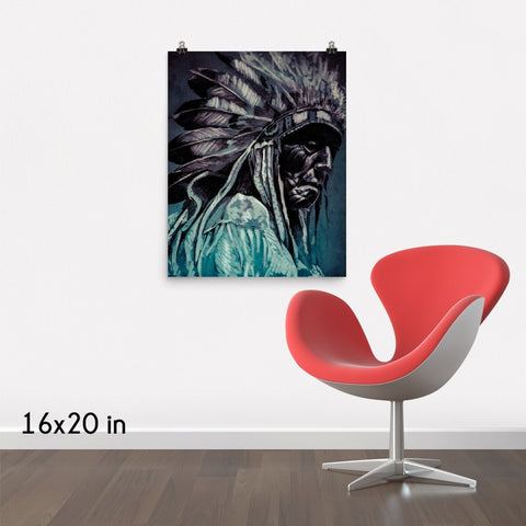 Cherokee Indian Portrait Premium Luster Wall Art Poster