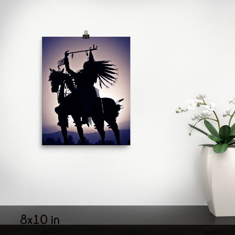 Native American Silhouette on a Horse Premium Luster Wall Art Poster