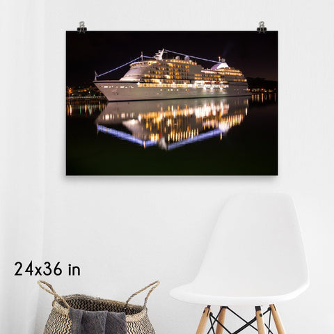 Grandeur Cruise Ship Reflection Enhanced Matte Wall Art Poster
