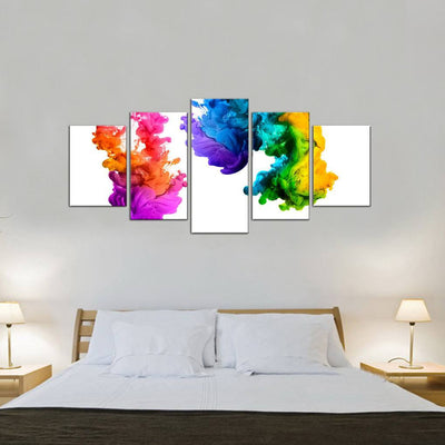Rainbow Ink Art 5 Piece Canvas Wall Art Decor