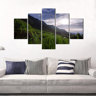 Grass in the Valley 5 Piece Canvas Wall Art Decor